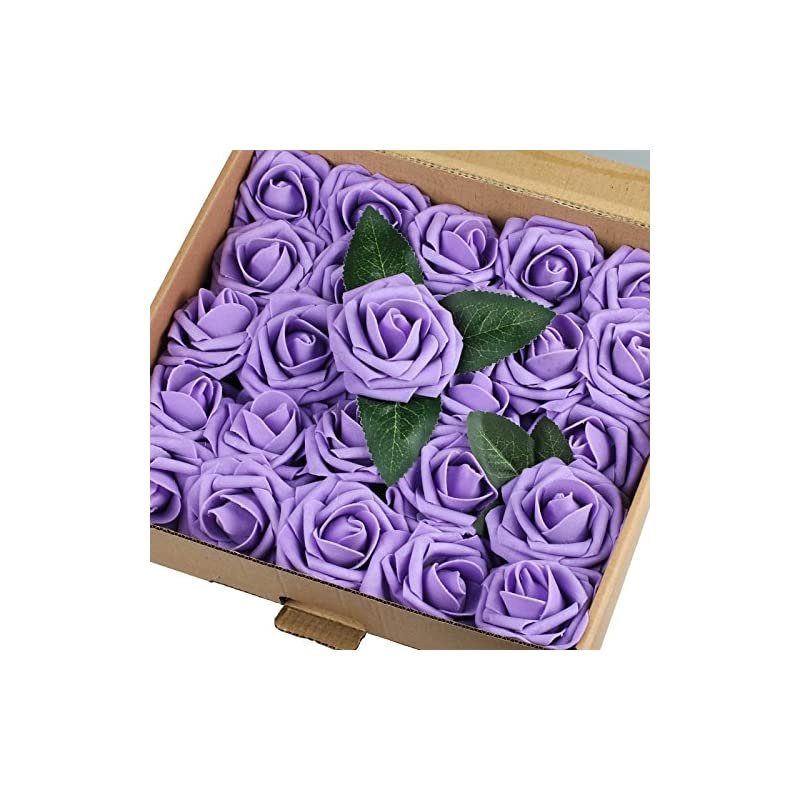 silk flower arrangements vlovelife 50pcs lavender real looking fake roses artificial flowers roses head with stem for diy wedding bouquets centerpieces arrangements birthday baby shower home party decorations…