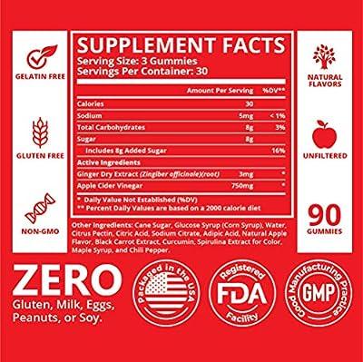 Raw Apple Cider Vinegar Gummies - Unfiltered, Natural, Gluten Free ACV - Great Alternative for Apple Cider Vinegar Capsules, Pills, Tablets & Diet Pills - Helps with Immune Support, Cleanse & Detox