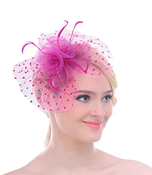 (Fuscia) - Vintage Feather Fascinator Polka Dot Mesh Looped Net Hair Clip  for Royal Ascot Cocktail  Amazon.es  Ropa y accesorios eef1549b2796