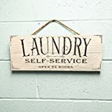 "Artblox Rustic Laundry Room Wall Decor Sign ""Self Service Open 24 Hours"" Quotes Real Thick Barn Wood Vintage Farmhouse Decorations Wood Art Prints Plaque 7""x18"