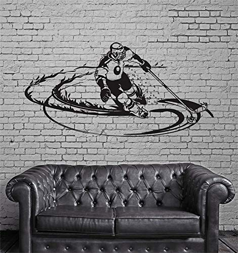(Vinyl Wall Statement Family DIY Decor Art Stickers Home Decor Wall Art Hockey Player Sports Fan for Boys Room)