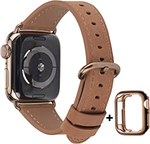 JSGJMY Leather Band Compatible with Apple Watch 38mm 40mm 42mm 44mm Women Men Strap for iWatch SE Series 6 5 4 3 2 1(Camel with Bronze Gold Clasp, 38mm/40mm S/M)