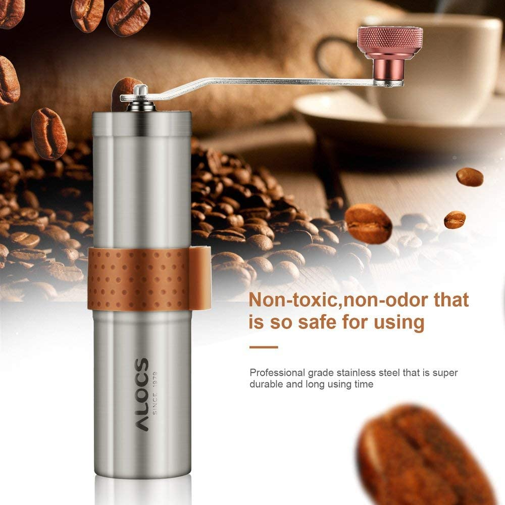 UnitedCAheart Stainless Steel Hand Manual Grind Coffee Bean Burr Grinder Maker Mill Tool with Drawstring Mesh Bag Manual Coffee Grinder