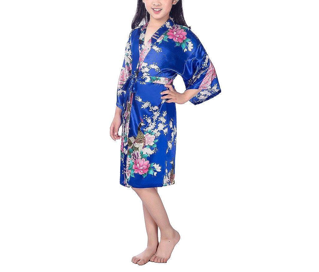 37710416e xingyueshop Children Girls Silk Robes Satin Robe Short Floral ...