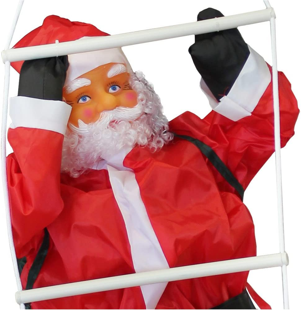 Santa Claus Climbing on Rope Ladder Outdoor Christmas Decoration 90cm-60cm en.casa