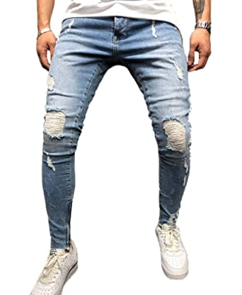 c3f16805d9f Gihorry Mens Fits Stretch Skinny Denim Tapered Leg Pencil Pants Distressed  Ripped Trousers Slim Long Pants Casual Broken Holes: Amazon.in: Clothing &  ...