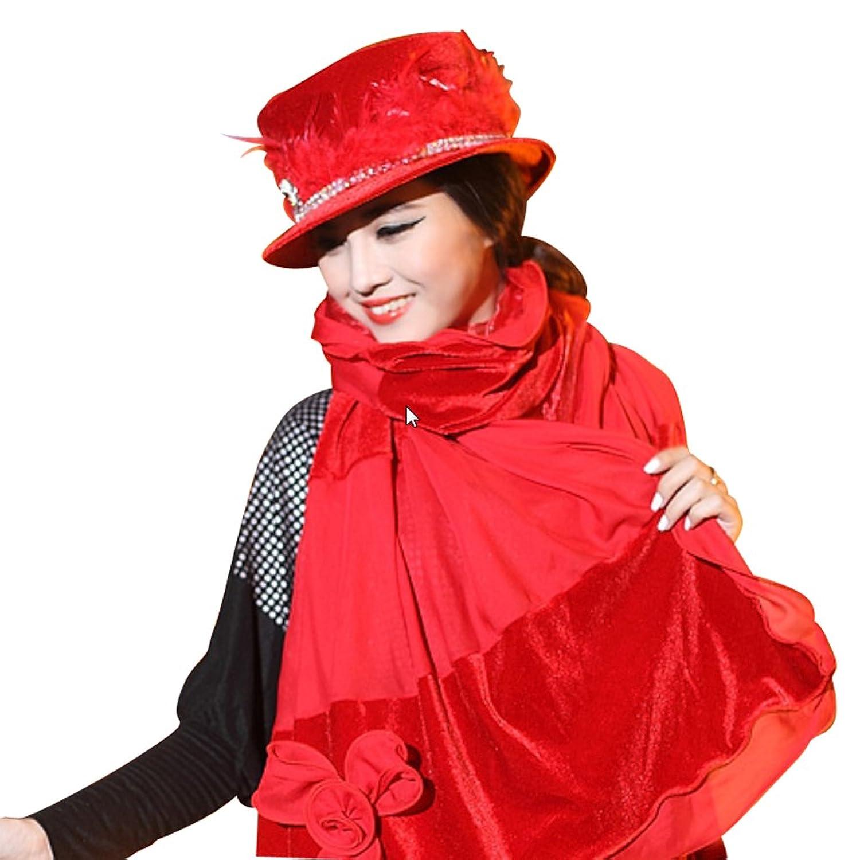 June's Young Damen-Hüte Samthut mit Borte, Feder Winter Cape Fasching Karneval Schal