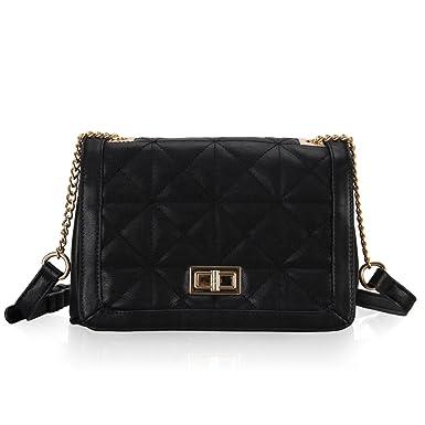 7ca342c7c4e Veevan Womens Geometric Pattern Twist Lock Shoulder Bag (Black)   Amazon.co.uk  Clothing