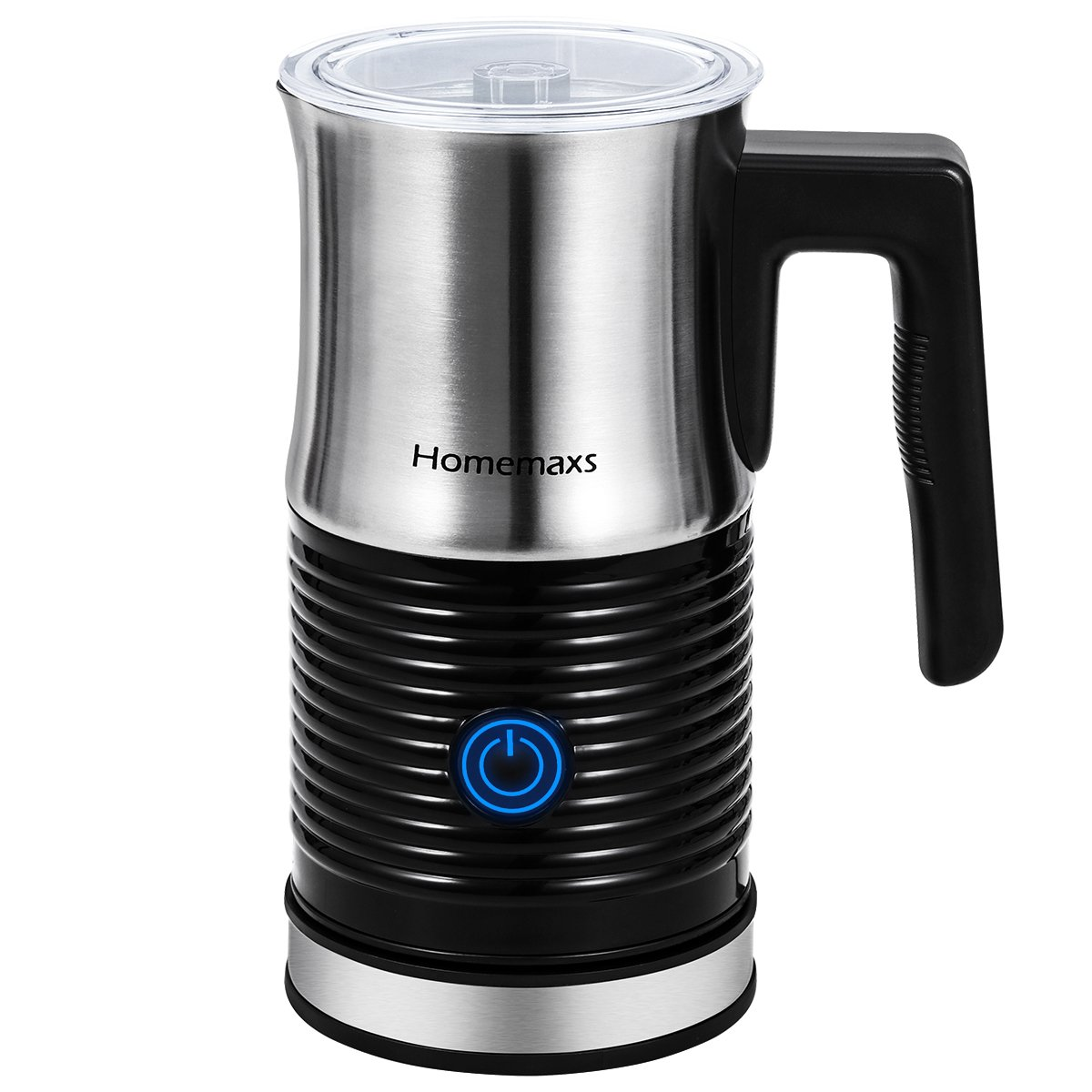 Milk Frother, Homemaxs Milk Steamer Frother Electric Warmer & Heater Milk Perfect Foam for Coffee, Hot Chocolate, Cappuccino, Silent Operation, Anti-hot Base & Non-Stick Interior