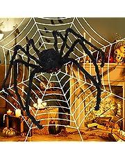 Halloween dekoration skräck utomhus hårig spindel 150 cm lång jättespindel med spindelnät läskig plysch spindlar för halloween dekoration (svart)
