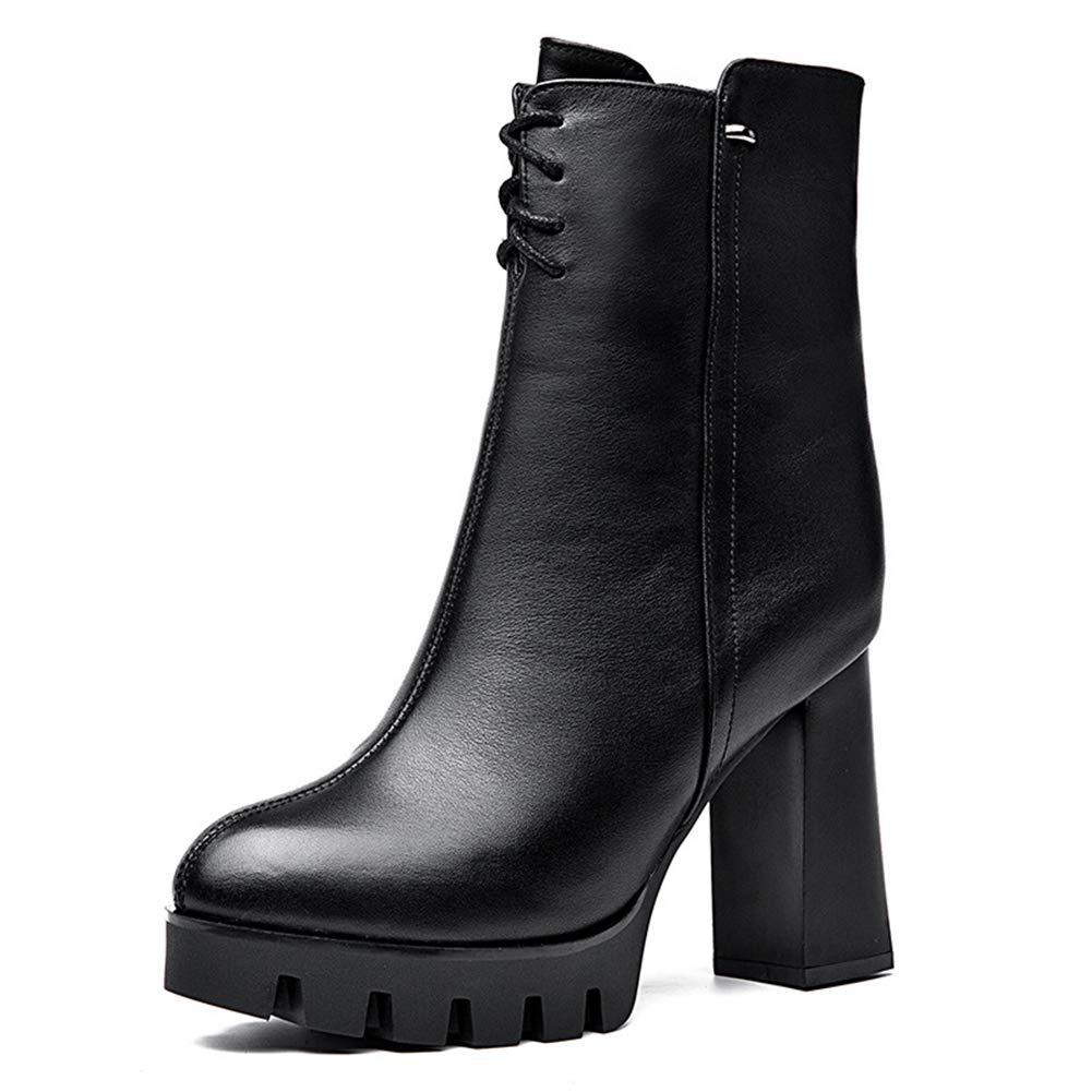 He-yanjing Lederstiefel Herbst Winter Winter Winter Wasserdichte high Heel Leder Stiefel Plus samt warme Mode Stiefel (Farbe   Schwarz Größe   34) aad850
