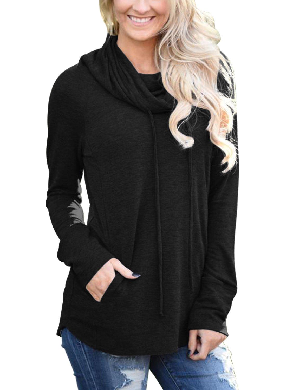 Bdcoco Women's Cowl Neck Long Sleeve Drawstring Sweatshirt Tunic Blouse Tops Black X-Large