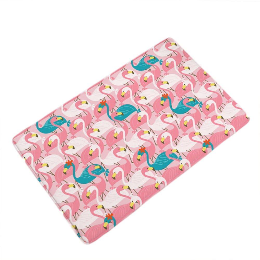 LANGUGU Home Garden Non-Skid/Slip Rubber Back Kitchen Mat Bath Rug Entrance Mat Flamingo Color Machine Washable Indoor Outdoor Hallway Carpet