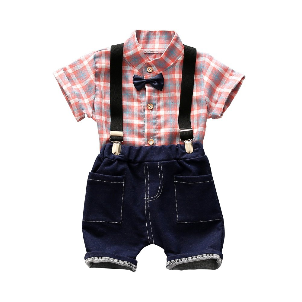 ESHOO Baby Boys Bowtie Gentleman Romper Jumpsuit Overalls and Plaid Shirt 2 Piece Set