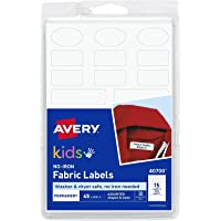 No-Iron Kids Clothing Labels, Washer & Dryer Safe, Writable Fabric Labels, 45 Daycare Labels, 1 Pack (40700), White, 1…