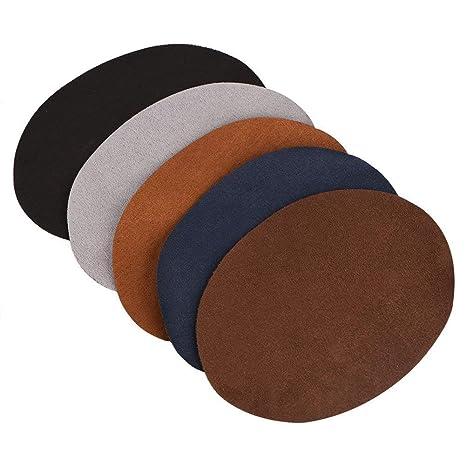 Reparación de parches, paquete de 10 colores surtidos Oval PU parche de cuero Reparación de costuras para el codo Rodilleras Accesorios de ropa