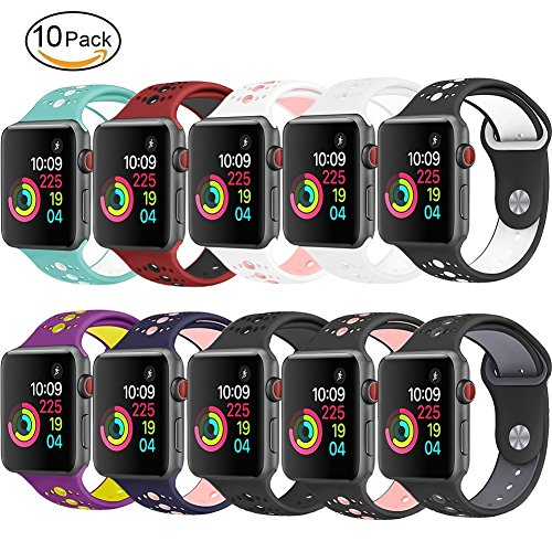 GHIJKL Sports Band for Apple Watch 38mm 42mm, Soft Silicone Replacement iWatch Wristband for Apple Watch Sport, Series 1, 2, 3