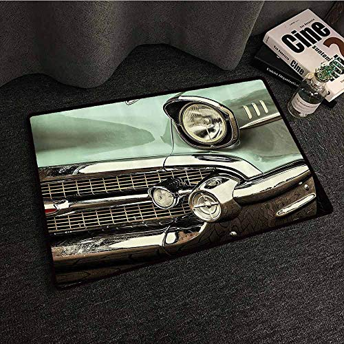1950s Decor Collection Thin Door mat Retro Style Image Front of a Green Antique Car American Bumper History Luxury Polished Pattern Machine wash/Non-Slip W35 xL59 Light Jade