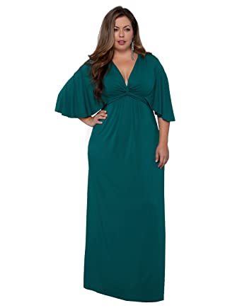 Kiyonna Women\'s Plus Size Charlize Maxi Dress 5X Pacific Teal at ...