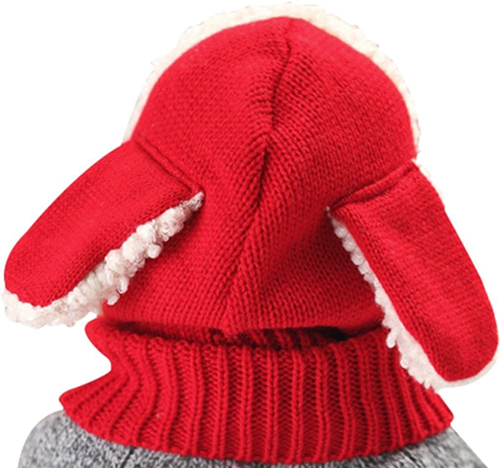 Tuopuda Baby Girls Boys Toddler Winter Hat Scarf Set Cutest Earflap Hood Warm Knit Hat Scarves with Ears Snow Neck Warmer Skull Cap for Kids 6-36 Months