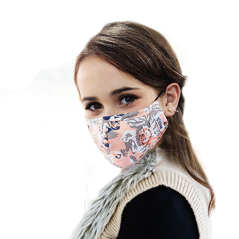 ZWZCYZ Women's Ladies Girls N95 PM 2.5 Cotton & Activated Carbon Respirator Masks Can Be Washed Reusable Masks Multiple Colors (Pink Flower)