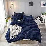 Lausonhouse Cotton Duvet Cover Set,100% Cotton Seersucker Duvet Cover with 2 Pillowshams,3 Pieces Check Bedding Set- King- Navy