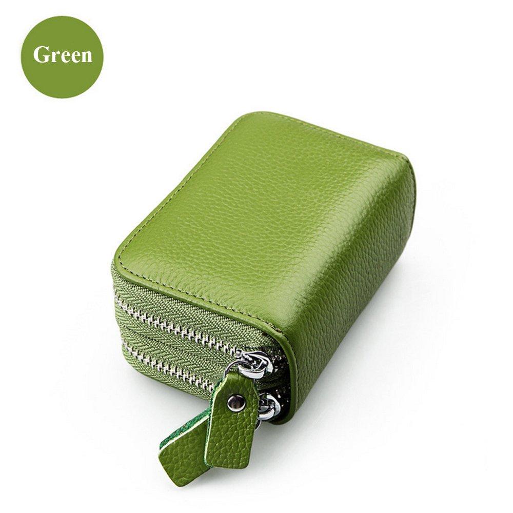Double Decker Zipper Wallets for Women Genuine Leather Business Card Holder Multifunctional Wallet (Green)