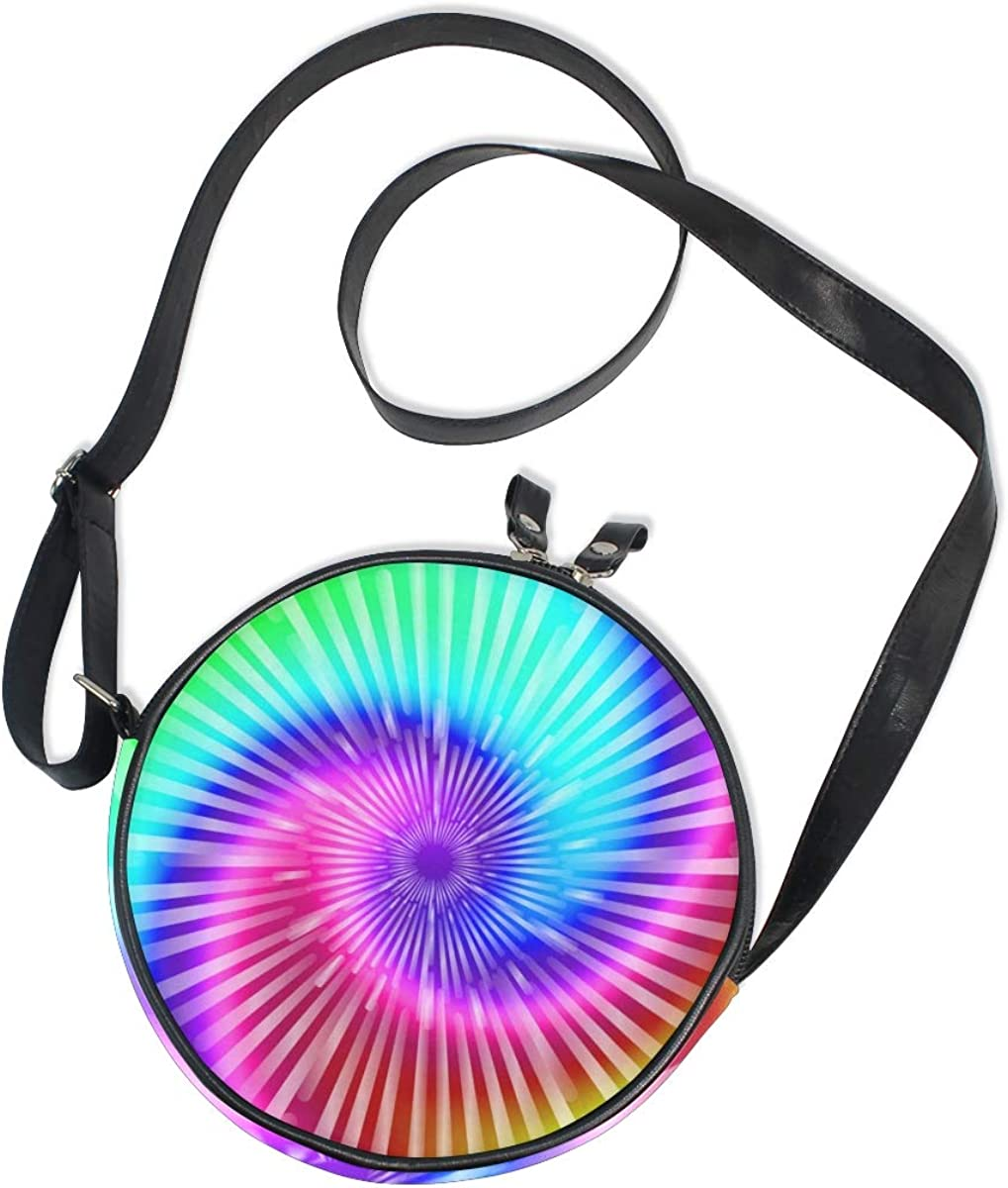 KEAKIA Tie Dye Colors Round Crossbody Bag Shoulder Sling Bag Handbag Purse Satchel Shoulder Bag for Kids Women
