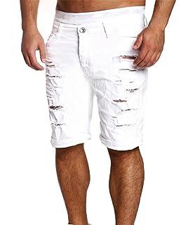 Mens Denim Shorts, Hommes Casual Short Jeans Détruit Genou Longueur Trou  Pantalon Ripped 98a3571bd49d