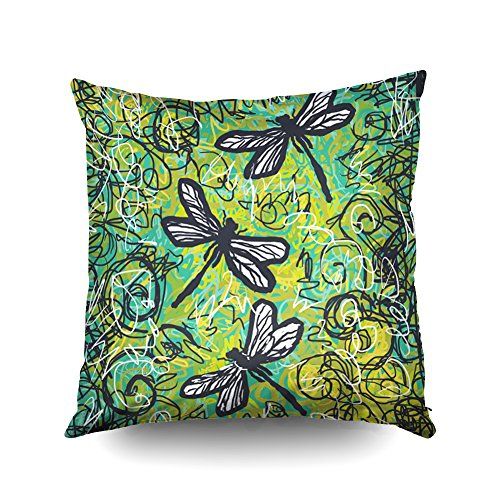 Capsceoll three dragonflies gold and teal art Decorative Throw Pillow Case 16X16Inch,Home Decoration Pillowcase Zippered Pillow Covers Cushion Cover with Words for Book Lover Worm Sofa Couch