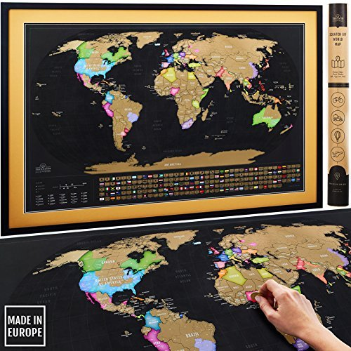 "Scratch Off Map of the World XL Poster with US States and All Country Flags - Deluxe Extra Large 35 x 23½"" Premium Quality Travel Tracker Print 