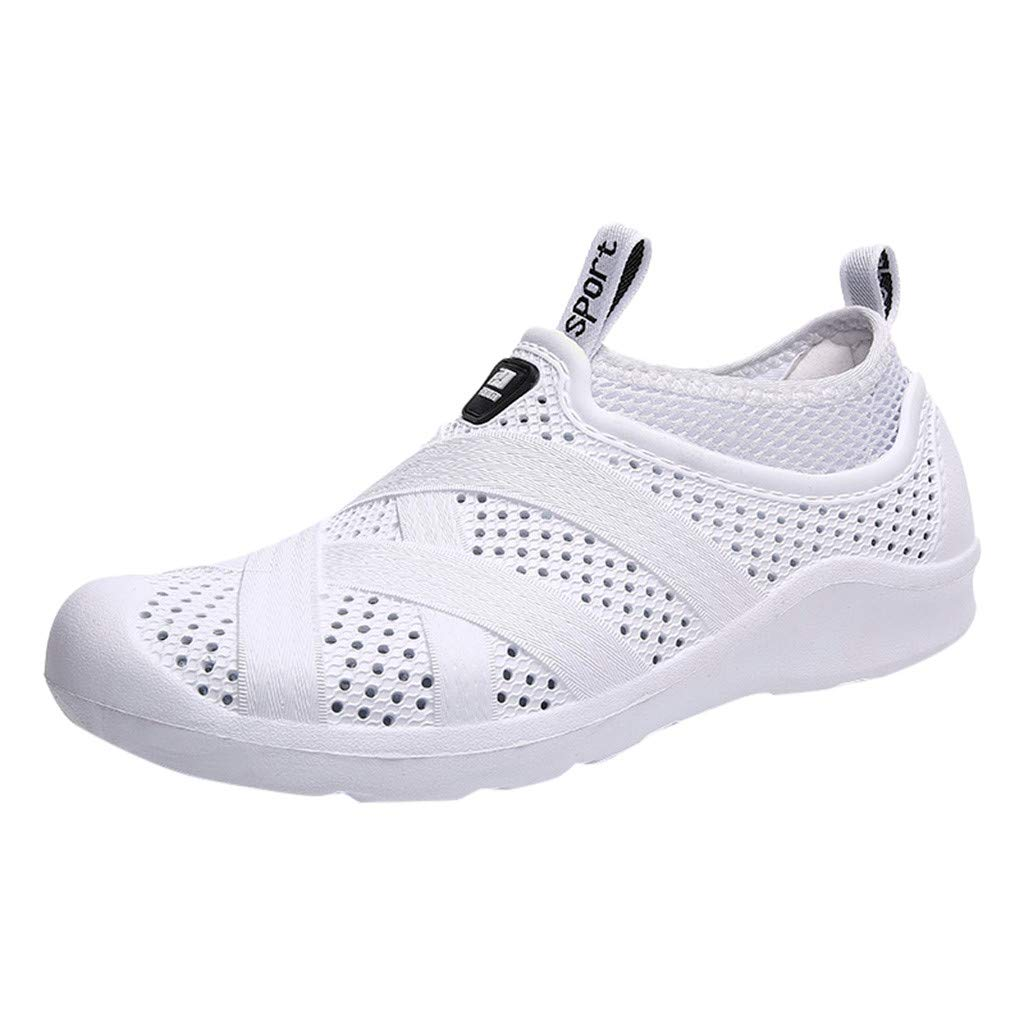 Respctful✿Men Slip On Shoes Mesh Breathable Sport Shoes Unisex Multi-Function Water Socks/Casual Outdoor Beach Shoes White