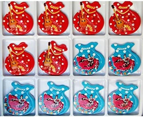 Lote expositor x 12 imanes Collection España castañuelas bailarina Flamenco rojo y azul de lunares: Amazon.es: Hogar