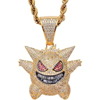 Sping Jewelry Gengar Purple Cubic Zirconia Hip Hop Pendant Necklace for Pokemon Fans Classic Collection