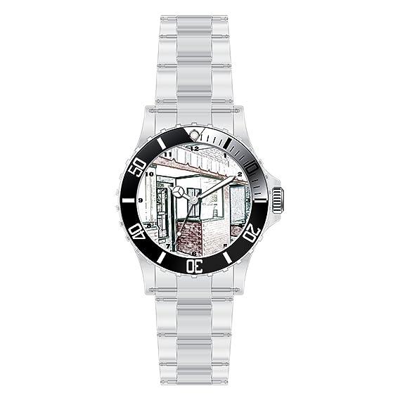 TYHJ Custom único relojes banda de acero inoxidable reloj de tiendas de una era anterior Digital Color P: Amazon.es: Relojes