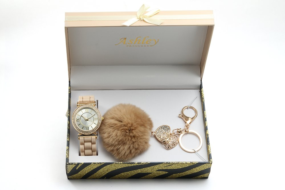 Bling Bling Shiny Cute Lovely Ladies Fashion & Style Keychain and Watch Set - ST10122Beige