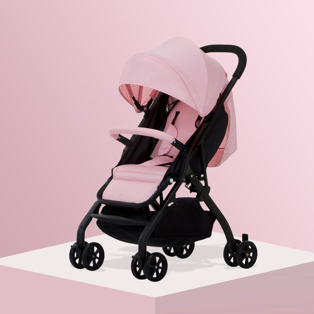 赤ちゃんのおもちゃ超軽量ベビーカーはリクライニングチルドレンの車輪(黒)(青)(グレー)(緑)(ピンク)59 * 35 * 100cm ( Color : Pink ) B07BT5GZ4Q