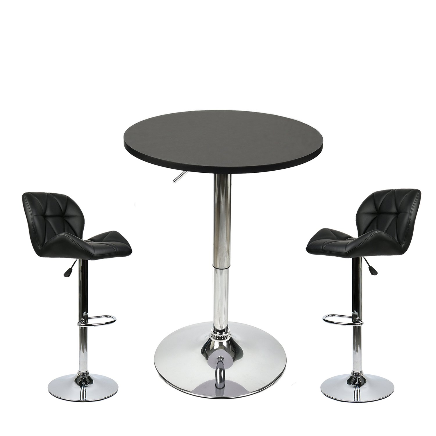 35 Inches Height Pub Table Round Black Mdf Top, with 2 Black Contemporary Chrome Air Lift Barstool Leather Padded Adjustable Swivel Stools
