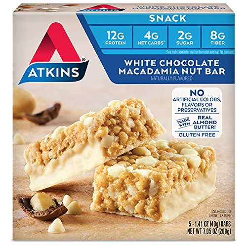 Atkins Gluten Free Snack Bar, White Chocolate Macadamia Nut, 5 Count (Pack of 6) ()