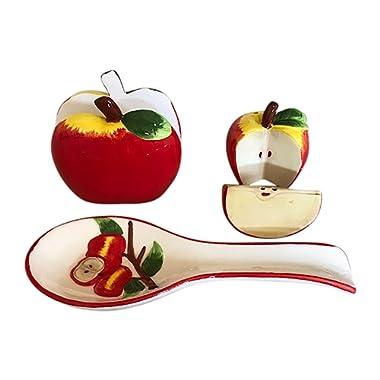 Apple Kitchen Decor Collection, Salt and Pepper Shaker Set, Spoon Rest and Napkin Holder Bundle