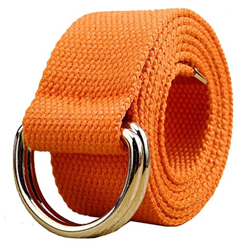 (Canvas Web Belt Double D-ring Buckle 1 1/2 Inch Extra Long Metal Tip Solid Color Christmas Gifts)