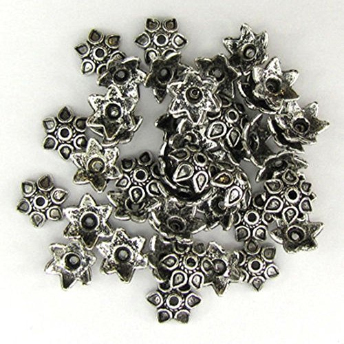 (1 Piece 9mm Pewter Flower Bead Caps Findings Silver Plated)