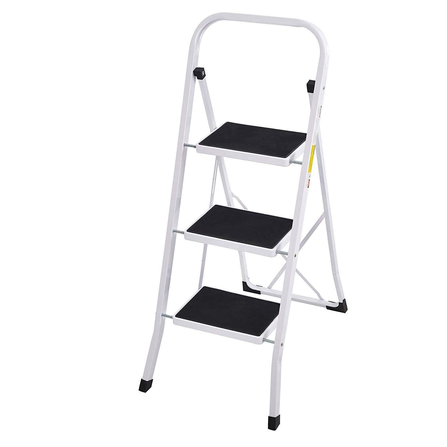 Livebest Portable Folding Step Ladder 3 Step with Handgrip Safety Step Stool Light Weight for Home and Kitchen,330 lbs Capacity,Iron Steel