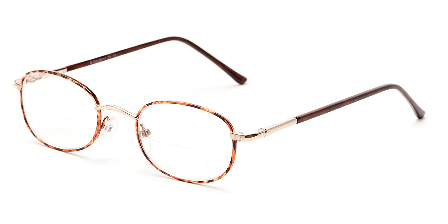 a73200b39d Amazon.com  Readers.com The Memphis Bifocal +4.00 Gold and Tortoise Full  Frame Metal Bifocal Readers with Aspheric Lenses Oval Reading Glasses   Health ...