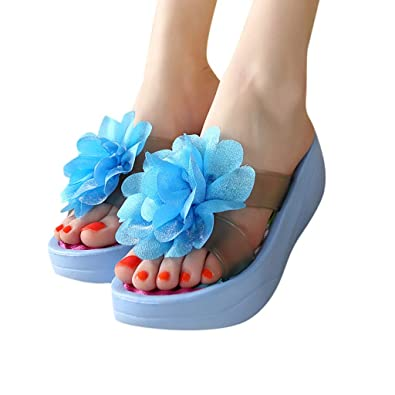 9475a419626e Image Unavailable. Image not available for. Color  BEUU 2019 New Summer  Sandals Platform Flip Flops Slippers Sandals Swing Wedge Women Hole Shoes  Sky