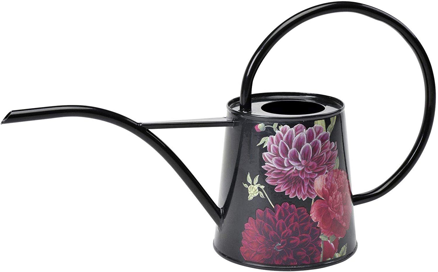 Burgon & Ball Indoor Watering Can in 34 Floz Lightweight in British Bloom Design | Long Reach Watering Can Peonies & Dahlias