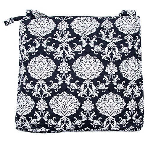 Waverly Womens Printed Quilt Bag Collection X-Body Black Damask Handbag (Purse Quilt Handbag)