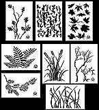 Acid Tactical 8 Designs - 9x14'' Camouflage Vinyl Airbrush Spray Paint Stencils - (Grass, Bark, Fern, Maple, Oak, Pine, Wheat, Gnarly Branch)