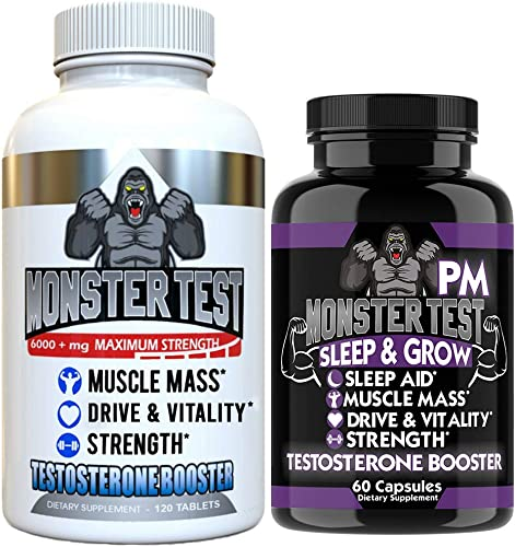 Angry Supplements Test Booster for Men 2 Pack , Monster Test 120 Tablets , Monster PM 60 Capsules Sleep Aid, Builds Muscle Mass, Both Boost Energy Drive, All Natural