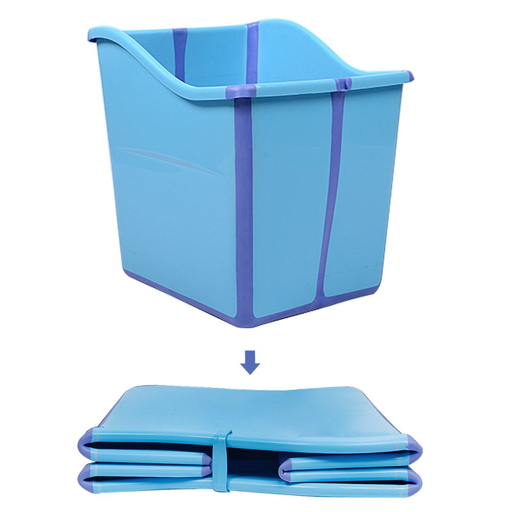Weylan Tec Foldable Toddlers Children Baby Bath Tub For Kids Blue PZT0814